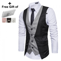 Men's personality splicing fake two single breasted leisure vest Man Business Casual Wedding black m