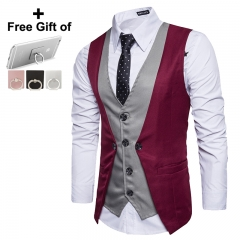 Men's personality splicing fake two single breasted leisure vest Man Business Casual Wedding red m
