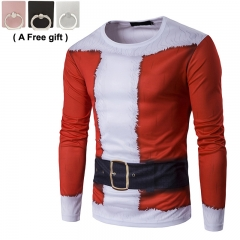 2018 fashion men new round neck 3D Santa Claus Print Long Sleeved POLO T-shirt red and white m