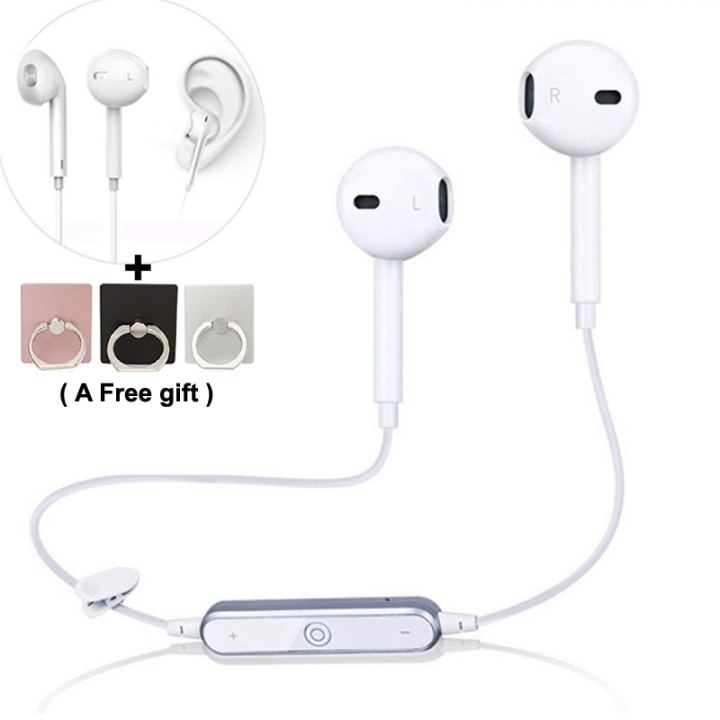 Bluetooth Dual Earphone Headset, Magnetic Noise Reduction, Anti-Sweat Headphones Hearing no pain white