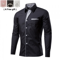 Men's long sleeved shirt Color splicing Pure color Repair the body black xxxl