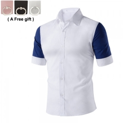Men's Student Business Leisure Short Sleeved Shirt, Three color shirt, White, Blue and Gray white xxxl