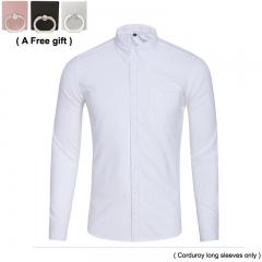Men's Corduroy Long Shirt Business Casual Polychromatic Optional white xxxl