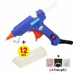 12 Pcs Melt Glue Sticks, Upgraded Hot Glue Gun, Safe and nontoxic through SGS test gun + 12pcs glue sticks blue and 20 watts