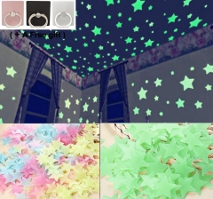 200pcs 3D Noctilucent Stars Light Wall Stickers Night Glow In The Dark Baby room Colorful and Green 3cm