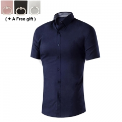 Men Student Pure short sleeved shirt fashion Good collocation black l
