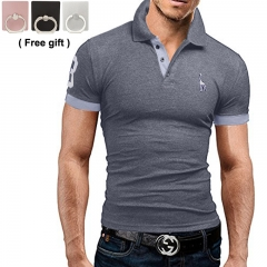 Men's short sleeved T-shirt  POLO shirt  Fashion casual fashion men's wear  Polychromatic optional grey xxxl