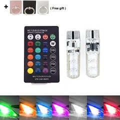2-pack Car LED Lights16-Color Changing Wireless Remote Control Width Lamp Reading Lights T10 6SMD