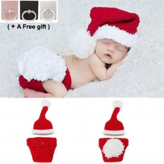 Newborn Knitted hat, knitted pants suit Christmas clothes Infant Photography Props red one size
