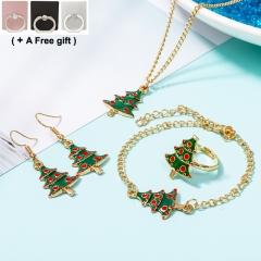 4 pcs a set Christmas jewelry set Christmas tree dripping Necklace Earrings Hand ring Ring Gold and green one size