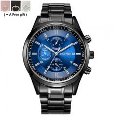 Men's ultra-thin sports luminous 30 meters waterproof steel belt Watch black and blue