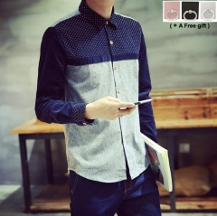 2018 New Men's Corduroy shirt Long sleeved shirt Fashion lattice design Comfortable blue and grey color m