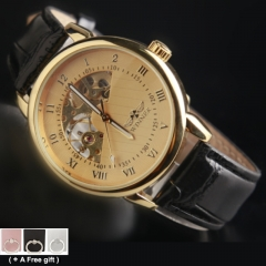 Men Mechanical watch Fan-shaped dial Hollow out of the back leather Belt gold and black