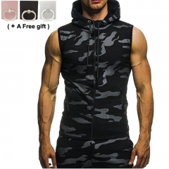 Men's Camouflage Zipper Sleeveless Cap Sportswear Sweater Black M