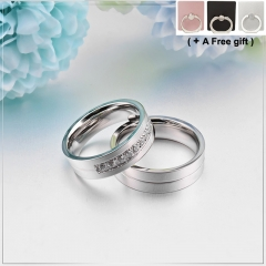 Valentine's Day Men Women Engagement Rings Wedding Jewelry Titanium steel Set with diamonds silver 6cm