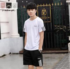 Male Students Summer Sports Suit Short Sleeve Short Pants Suit Black White Grey white l
