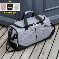 Hand-held Sports Fitness Bag, Large Travel Bag, Single Shoulder Waterproof Baggage-Grey Color Gray 51x23x27cm