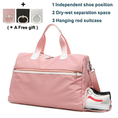 Dry-wet Separation Women's Sports bag 26 litres big Independent shoe position Hanging rod suitcase pink 45*20*29 cm, capacity 26 liters