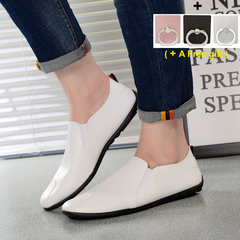 Fashion and Leisure Men's Bean Shoes Soft-soled leather shoes Men's single shoes white 40
