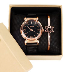 Bling Starry Sky Watches Gold And Bracelet Set black