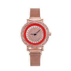 Crystal Rhinestone Diamond Stainless Steel Wristwatch red