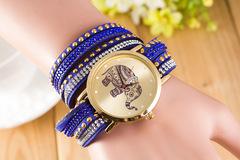 Elephant Pattern Wristwatch Diamond Bracelet Watches blue