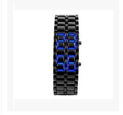 Men's Lava Stainless Steel Lava RED LED Digital Bracelet Watch balck + blue
