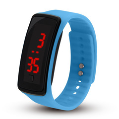 LED Jelly Gel Silicon Bracelet Wrist Watches blue