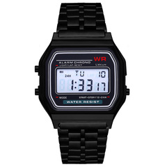 Square Waterproof Digital Multifunction Sports Watch black