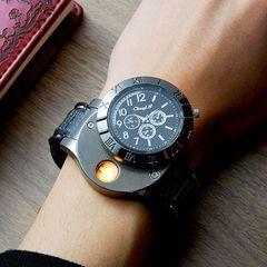 Quartz Watch Lighter USB Electronic Cigarette Lighter black