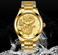 Golden Dragon Quartz Watch Men Luxury Watches gold