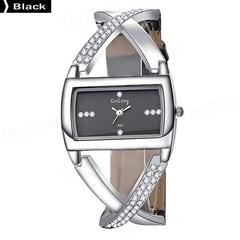 Rectangular Dial Crystal Quartz Watch Leather Strap Watches black