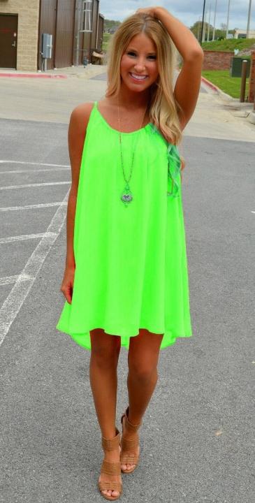 992194b50ed45 2018 Women beach dress fluorescence female summer dress chiffon voile women  dress summer green 3xl