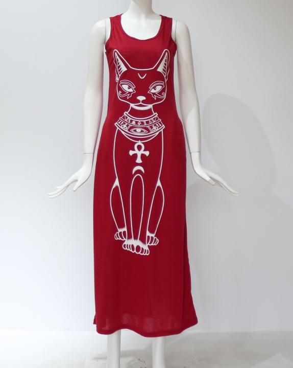 01008742f761 2018 Women Summer Long Maxi Dress Casual Cat Print Boho Beach Dress Sexy  Evening Party Bodycon