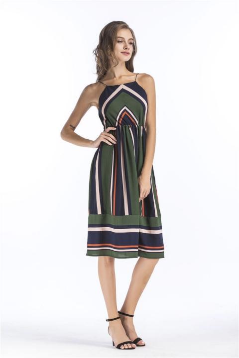 781addeba089 2018 Casual Striped Beach Dress Women Sexy Sleeveless Party Dress Sundress  Vestidos green s