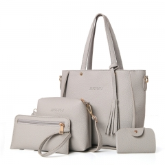Top-Handle Big Capacity Female Fashion Shoulder Bag Purse Ladies PU Leather Crossbody Bag gray 26cm x 25cm x 8cm