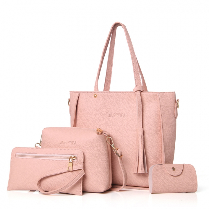 Top-Handle Big Capacity Female Fashion Shoulder Bag Purse Ladies PU Leather Crossbody Bag pink 26cm x 25cm x 8cm