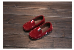 2018Autumn Kids Flock PU Leather Casual Shoes Boys Loafers All Boys Slip-on Soft Breathable Shoes Wine red 21