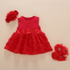 New Born Baby Girls Infant Dress&clothes Summer Kids Party Birthday Outfits Christening Gown Baby red 3M:0-3month