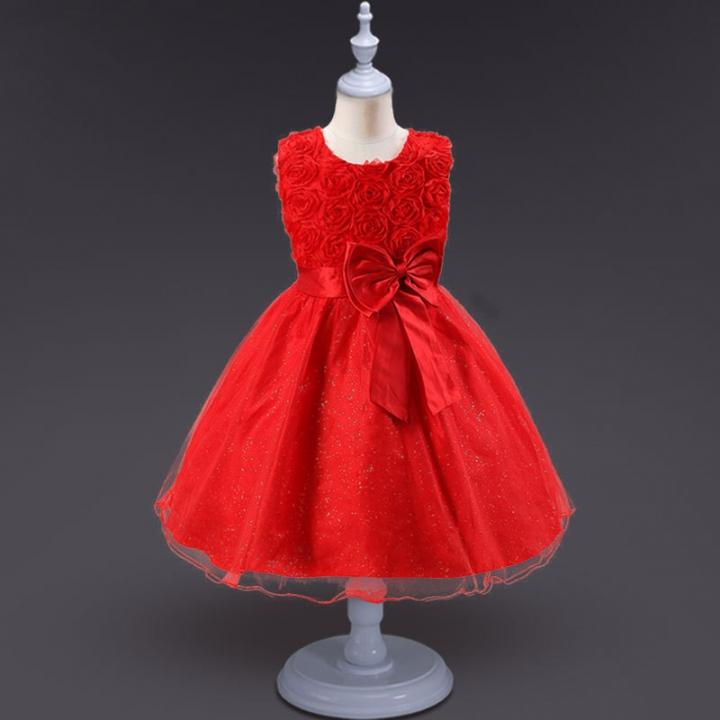 1st Birthday Dress For Baby Girl.2018 Baby Dress For Girls Dresses Baby Clothing Baptism 1st Birthday Dresses For Girls Kids Red 90cm