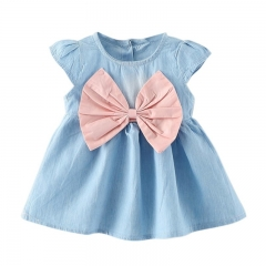 2017 new children summer wear short sleeved dress fashion party baby toddler girl pure cuff pink 90cm
