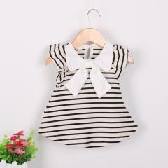2018 Baby Girl Striped Dress New Brand Princess Bow Toddler Girls Dresses dark blue stripes 80cm