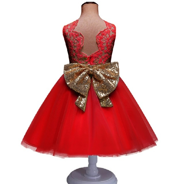 Wedding Dress Baby Girl Bow Pattern For Toddler 1 Years Birthday Party Baptism Dress Clothes red 90cm
