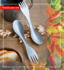 Outdoor Camping Picnic titanium Spoon Tableware titanium Fork Ultralight pure titanium Spork