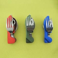 Multi-function Outdoor Camping Stainless Steel Cutlery 4 in 1 Folding Spoon Fork Knife&Bottle Opener