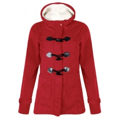 2018 Spring Autumn Women's Overcoat Female Long Hooded Coat Zipper Horn Button Outwear red s