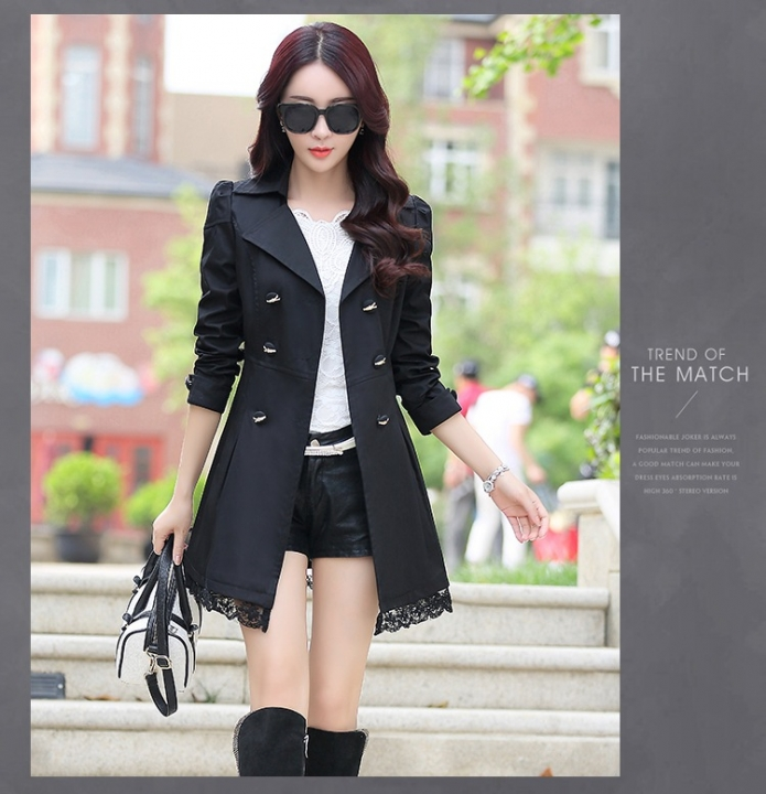 f554b19f92 2018 Trench Coat For Women Spring Coat Double Breasted Lace Autumn  Outerwear black xl