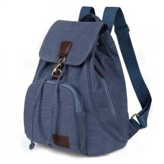 Female women canvas backpack preppy style school Lady girl student school laptop bag brown 30cm×15cm×40cm