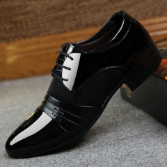 Hollow Outs Breathable Men Formal Shoes Pointed  Leather Oxford Shoes For Men Dress Shoes Business black 38