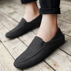 Men Hemp Shoes Espadrilles Designer Breathable Casual Boat Shoes Men Loafers Ultralight Lazy Shoes black 39